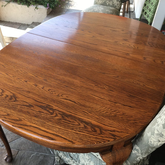 Oak Oak Dining Table With Queen Anne Legs For Sale - Image 7 of 11