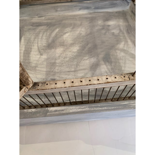 Gray Large Painted Grey Wood & Wire Birdcage For Sale - Image 8 of 12