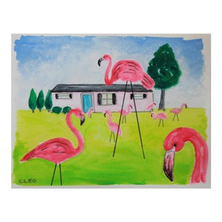 Pink Flamingo Landscape Lawn Painting by Cleo For Sale