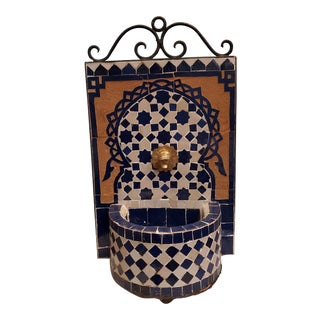 Blue and White Miniature Moroccan Mosaic Fountain For Sale