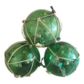 Jumbo Hand-Blown Nautical Green Glass Fishing Floats - Set of 3 For Sale