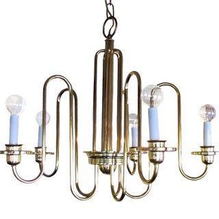 Five Light Brass Chandelier For Sale
