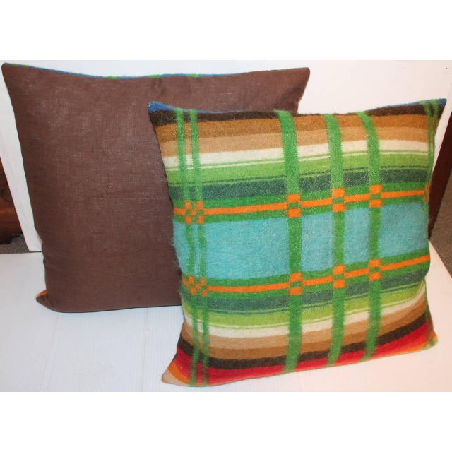 Adirondack Pair of Vibrant 19th Century Horse Blanket Pillows For Sale - Image 3 of 5
