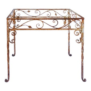 Mid 20th Century Wrought Iron Scrollwork Garden Table For Sale