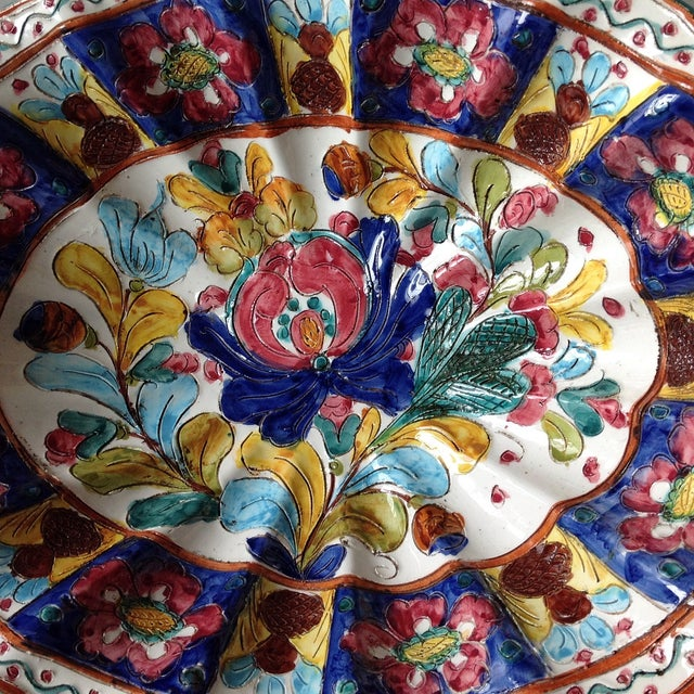 Hand-Painted Majolica Pottery Bowl & Tray - Image 8 of 11