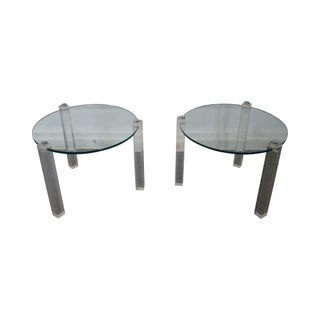 Mid-Century 3 Legged Lucite Tables with Round Glass - A Pair For Sale