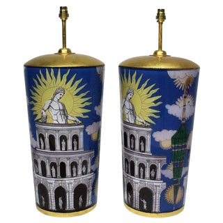 Large Eglomise Lamps in the Manner of Fornasetti - a Pair For Sale
