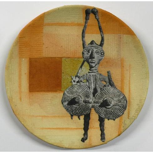 Original artwork by artist Carl M. George. China plate collaged on both sides with gold and silver leaf, rice paper,...