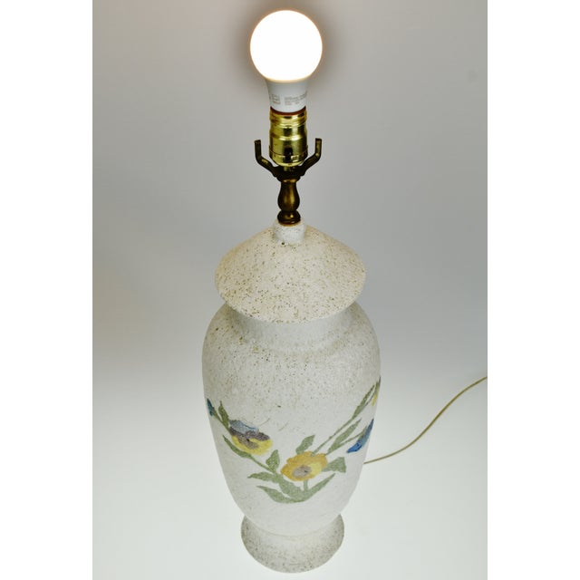 Traditional Vintage Large Textured Pottery Table Lamp For Sale - Image 3 of 13