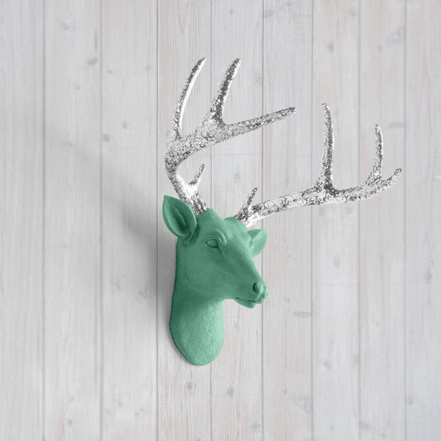 The MINI Virginia Mint + Silver Glitter Antlers faux taxidermy Deer Head Wall Sculpture. This wall mount features the...