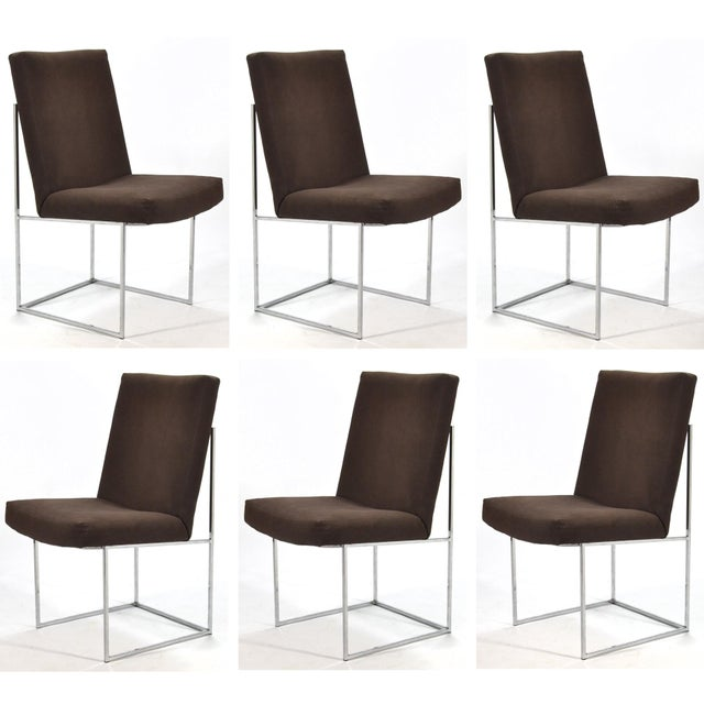 This is one of our favorite designs by Milo Baughman. These dining chairs have a beautiful architectural base of polished...