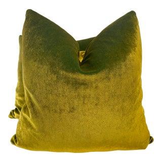 "Iridescent Velvet in Gold on Aqua 22"" Pillows-A Pair For Sale"