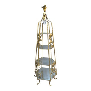 1940s Hollywood Regency Gilt Metal Etagere For Sale
