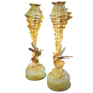 A Pair of Jugenstil Viennesse Bronze Candlesticks With Dragonflies, Circa 1900 For Sale