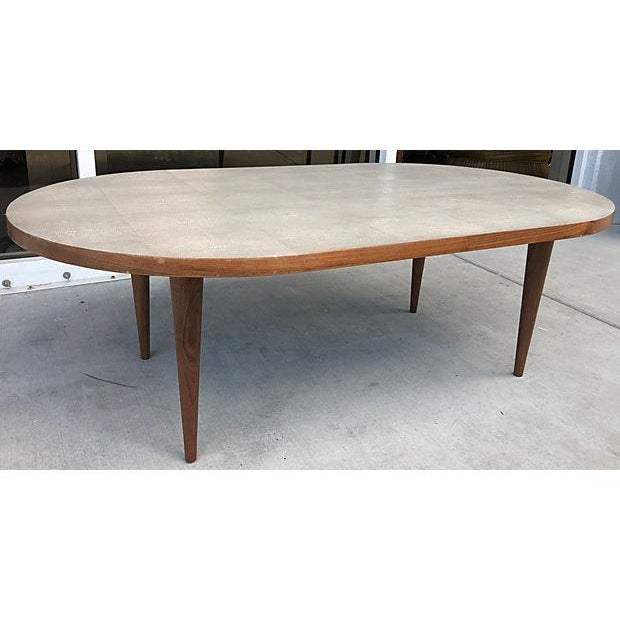 Mid-Century Modern Gray Shagreen Coffee Table / Cone Shape Legs For Sale - Image 3 of 8