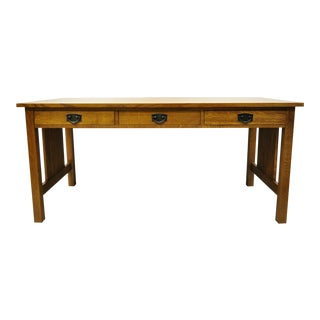 "Stickley Mission Collection Fayetteville Oak 66"" Spindle Library Office Desk For Sale"