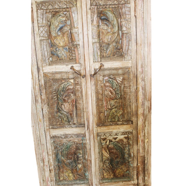 Antique Haveli Carved Rustic Armoire For Sale - Image 4 of 9