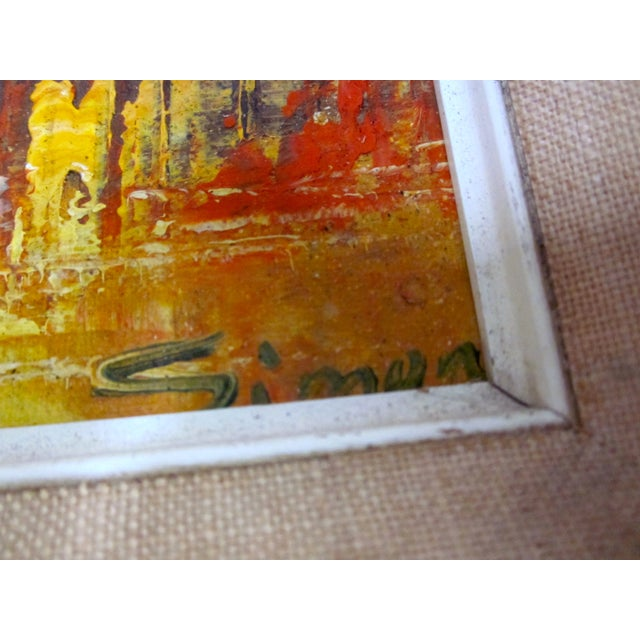 Mid Century Abstract Cityscape Painting - Image 7 of 10
