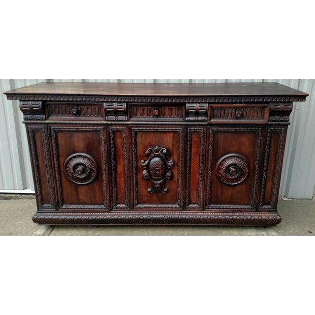 19th C. Renaissance Revival Figural Carved 3 Door Sideboard Server - Image 2 of 10