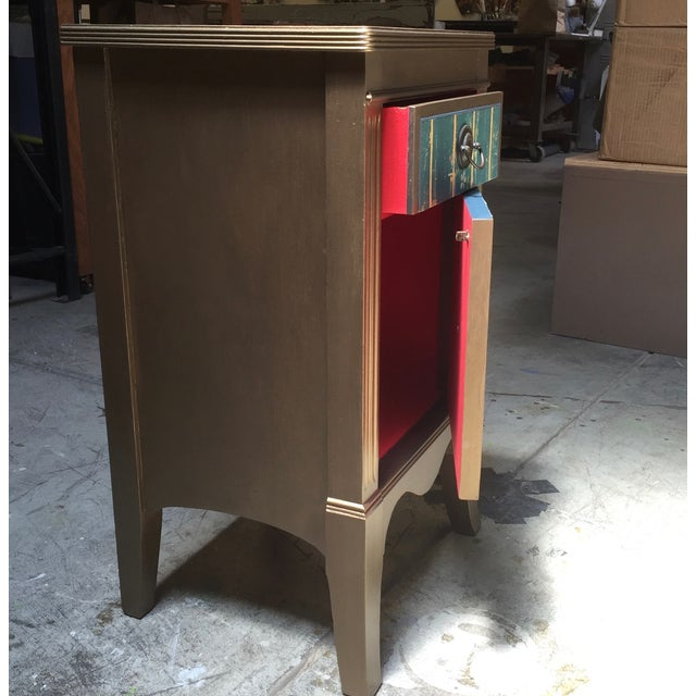 Blue Metallic Gold Nightstand With Floral Linen Panel For Sale - Image 8 of 10
