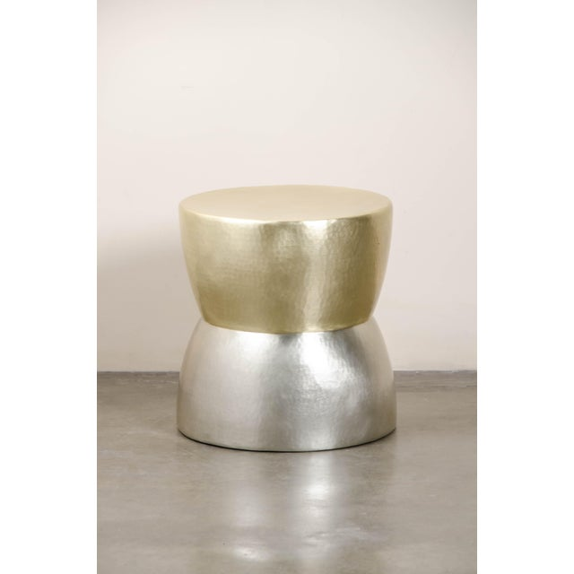 2010s Brass and White Bronze Low Empire Hand Repouss Drumstool by Robert Kuo, Limited Edition For Sale - Image 5 of 5