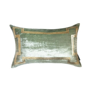 Aria Sea Foam Green Silk Velvet Lumbar Pillow With Gold Foil Accents For Sale