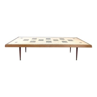 Over-Scale Mid-Century Modern Tile Top Coffee Table W/ Tapering Conical Legs For Sale