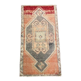 Aztec Turkish Oushak Wool Small Hand Rug For Sale