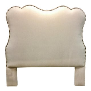 Custom Transitional Beige Linen Blend Queen Headboard For Sale