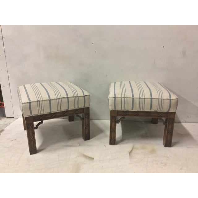 Pair of Chinese Chippendale Style Ottomans For Sale In Atlanta - Image 6 of 8