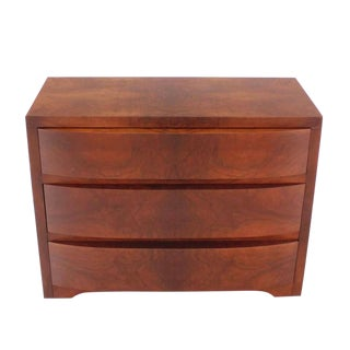 Three Drawers Sculptured Front Burl Wood Dresser