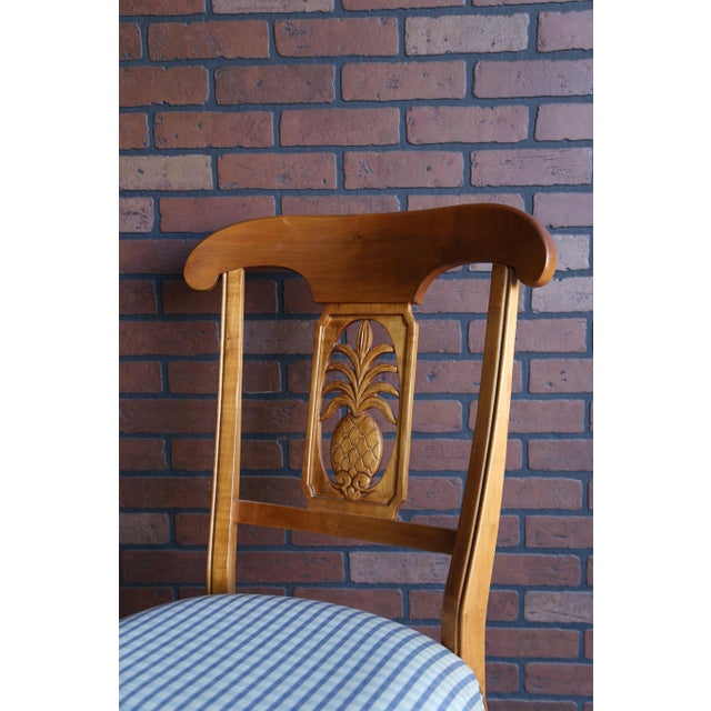 French 1990s Vintage Ethan Allen Legacy Collection Pineapple Dining Side Chairs- Set of 4 For Sale - Image 3 of 9