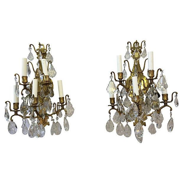 1940s Italian Crystal & Glass Sconces - A Pair For Sale In New Orleans - Image 6 of 8