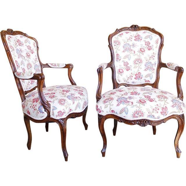 18th Century French Provincial French Louis XV Fauteuil Arm Chairs - a Pair - Image 10 of 10