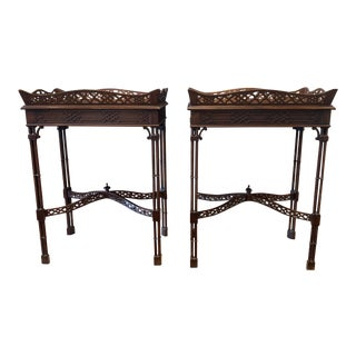 1940s Vintage Mahogany Chippendale Tea Tables- a Pair For Sale
