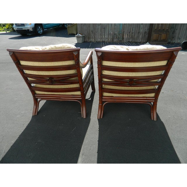 Palecek Colonialwood Club Chairs - A Pair - Image 5 of 11
