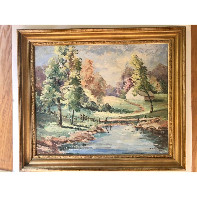 Mid-20th Century Landscape Oil Painting For Sale - Image 9 of 9