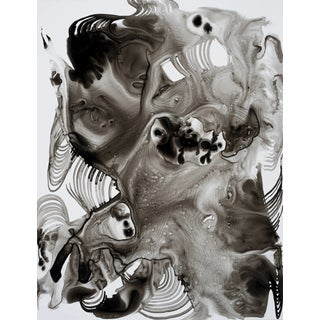 """Lorene Anderson """"Thermal Bubbles"""" Black and White Painting on Paper For Sale"""