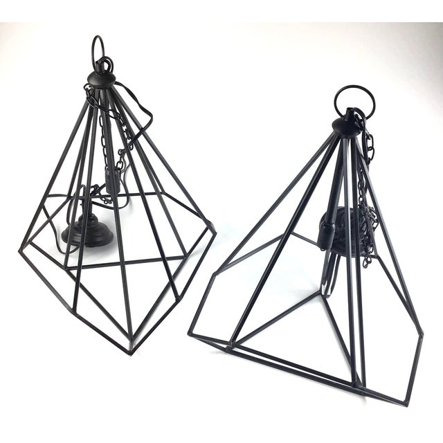 Black Modern Hanging Ceiling Chandeliers - a Pair For Sale - Image 12 of 12
