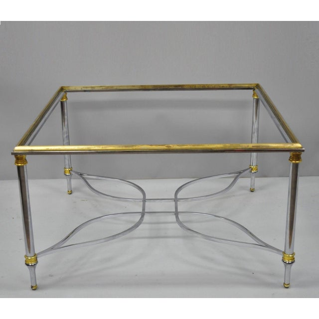 Neoclassical Maison Jansen Style Chrome Steel and Brass Square Coffee Table Base For Sale - Image 11 of 11