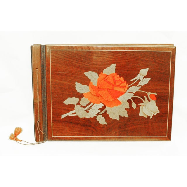 Vintage Wooden Scrapbook With Flower Inlay - Image 2 of 5