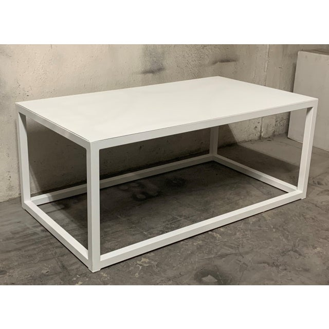 New Modern Rectangular White Table With Metal Top, Indoor or Outdoor For Sale - Image 4 of 12