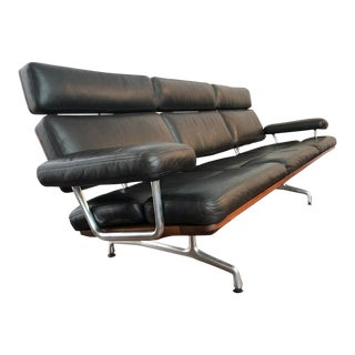 "Charles Eames for Herman Miller Black Leather / Rosewood ""Three-Seat Sofa"" For Sale"