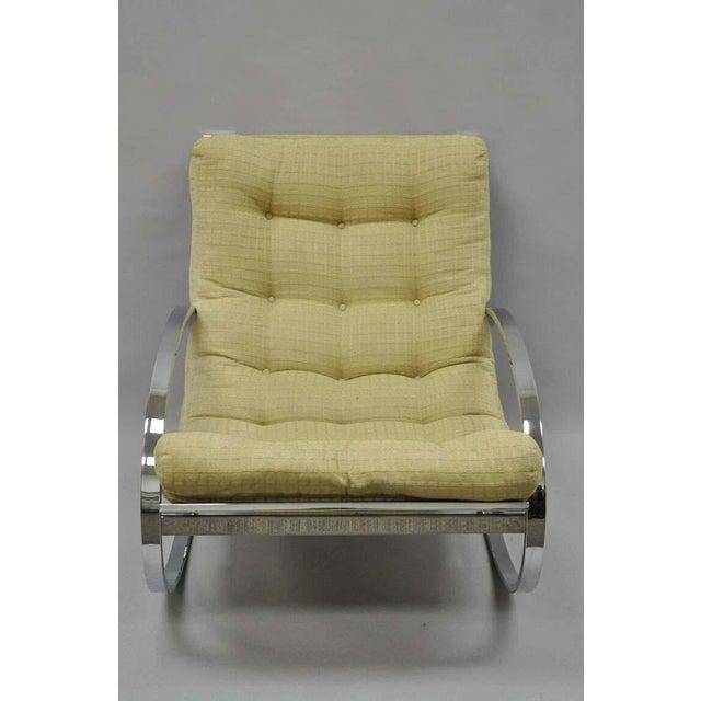 Mid Century Modern Renato Zevi Selig Ellipse Milo Baughman Chrome Rocking Chair For Sale In Philadelphia - Image 6 of 10