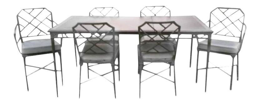 Brown Jordan Seven Piece Calcutta Chairs And Table Faux Bamboo Patio Dining  Set