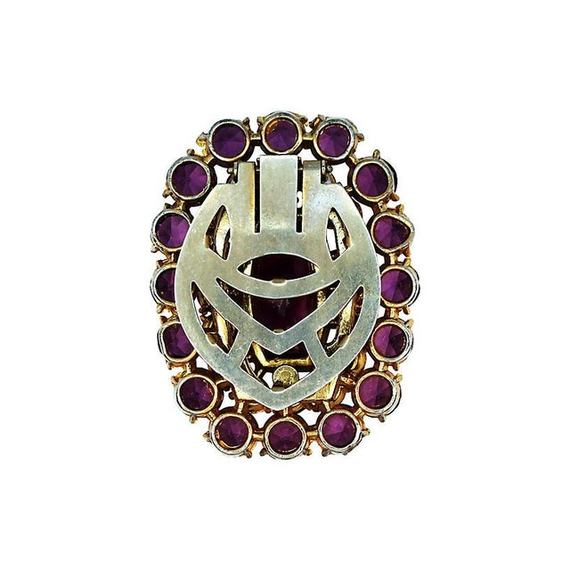 Traditional Large Amethyst Glass Dress Clip, C. 1940 For Sale - Image 3 of 4