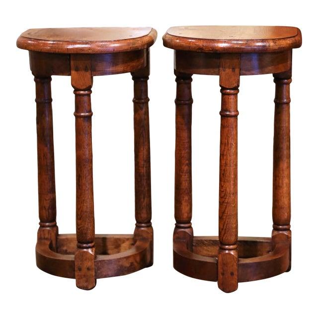 19th Century Louis XIII Oak Three-Leg Demilune Side Tables - a Pair For Sale