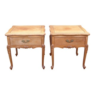 Vintage French Provincial Brown End Tables - A Pair