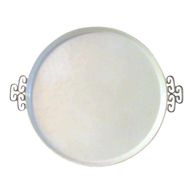 Mid-Century Modern Off-White Kyes Moiré Tray - Image 1 of 5