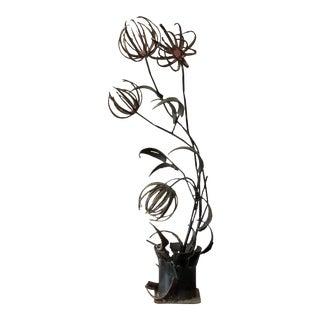 1960s Brutalist Paul Evans Style Flowers Sculpture
